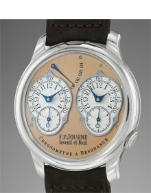 F.P. Journe - A fine and rare platinum dual time wristwatch with double escapement, original guarantee and presentation box