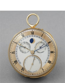 George Daniels - A unique, spectacular and historically important yellow gold instantaneous perpetual calendar minute repeating openface watch with moonphases, thermometer, power reserve, equation of time, annual calendar and one minute co-axial tourbillon
