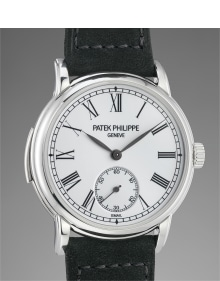 Patek Philippe - An incredibly rare and attractive platinum minute repeating wristwatch with enamel dial, original certificate, additional caseback, portfolio and winding box