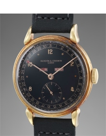Vacheron Constantin - A fine and very rare yellow gold triple calendar wristwatch with and black lacquer dial