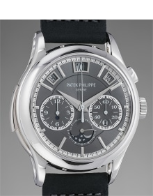 Patek Philippe - A very rare and highly important platinum minute repeating single-button chronograph wristwatch with instantaneous perpetual calendar, moonphases, certificate and boxes
