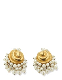 Suzanne Belperron - A Pair of Cultured Pearl and Gold Earrings
