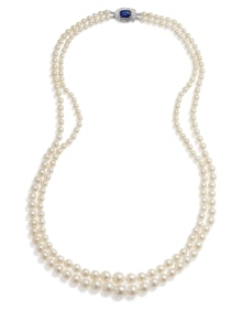 NoArtist - A Natural Pearl, Sapphire, Diamond and Gold Necklace