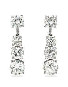 NoArtist - A Pair of Diamond and Platinum Earrings
