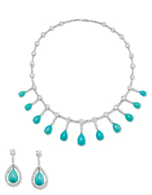 NoArtist - A Diamond, Turquoise, Platinum and Gold Necklace and Pair of Earrings