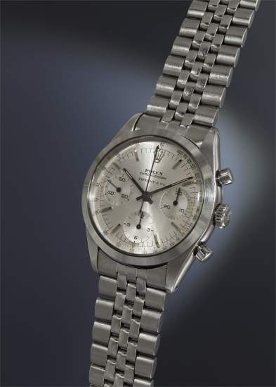 An extremely rare and highly attractive stainless steel chronograph wristwatch with silvered dial and bracelet, retailed by Tiffany & Co.