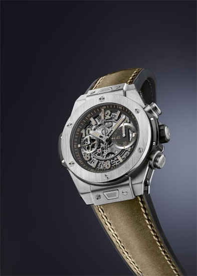 A unique stainless steel fly-back chronograph wristwatch with skeleton dial and beige luminescent indexes, made especially for the START-STOP-RESET auction to benefit Fond'Action.