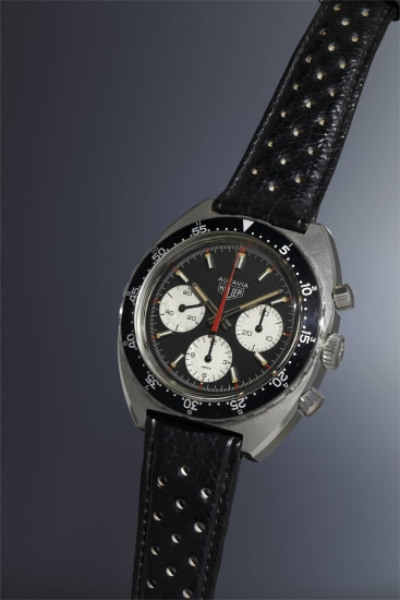A very rare, highly attractive and large stainless steel chronograph wristwatch with black dial featuring 'Viceroy' colors and rotating bezel.