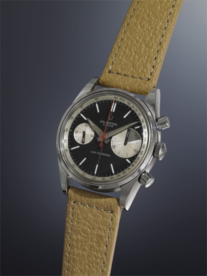 A very rare and highly attractive stainless steel chronograph wristwatch with black dial, tachometer scale, and enlarged 45-minute register.
