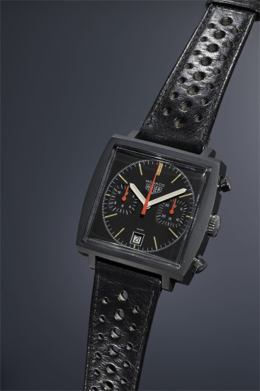 A very rare and unusual square shaped PVD-coated stainless steel chronograph wristwatch with black dial and date.