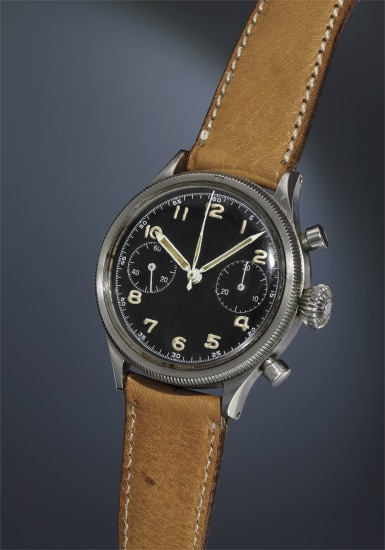 A very rare, attractive and historically interesting stainless steel chronograph wristwatch with black lacquer dial.