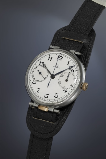 An extremely rare and oversized nickel chromed single-button chronograph wristwatch with enamel dial, Breguet hands and hinged caseback.