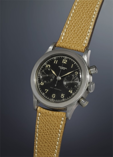 A fine, rare and oversized stainless steel chronograph wristwatch with black dial and luminous Arabic hour markers.
