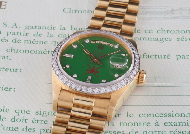 """A very rare and attractive yellow gold and diamond-set calendar wristwatch with bracelet, centre seconds and green lacquered """"Stella"""" dial, made for the Sultanate of Oman with original guarantee"""