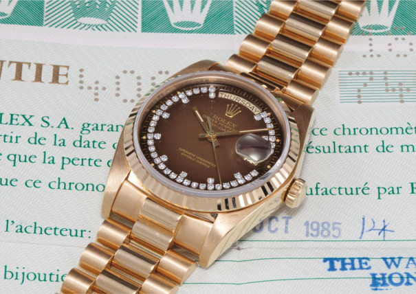 A rare yellow gold and diamond-set calendar wristwatch with bracelet, centre seconds, brown degrade dial, guarantee and swing tag