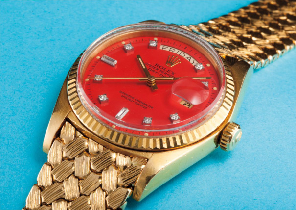 """A very rare, heavy and unusual yellow gold and diamond-set calendar wristwatch with centre seconds, custom made bracelet and pepita red lacquered """"Stella"""" dial"""