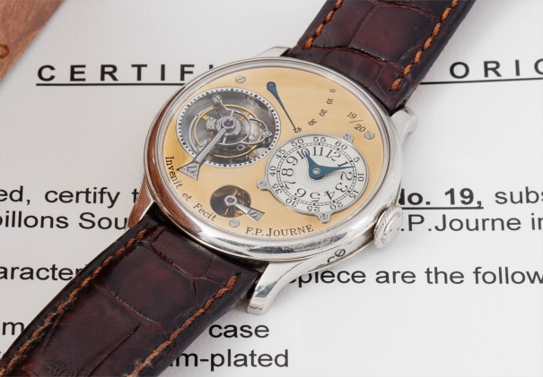 A very attractive, limited edition platinum tourbillon souscription wristwatch with remontoire, accompanied by Certificate of Origin and presentation box