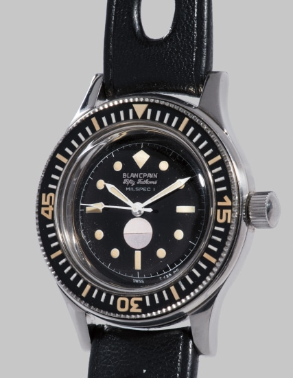 A rare and highly attractive stainless steel diver's watch with black glossy dial, humidity indicator and exhibition certificate, retailed by Barakuda