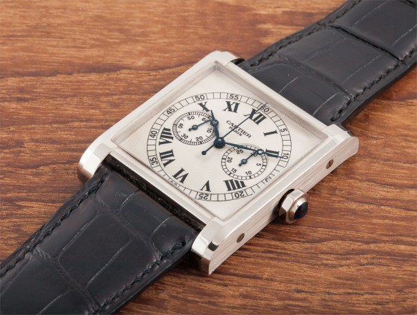 A fine and rare large oversized limited edition square single button chronograph wristwatch