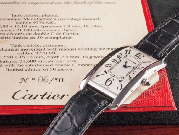 A rare and larger platinum limited edition wristwatch
