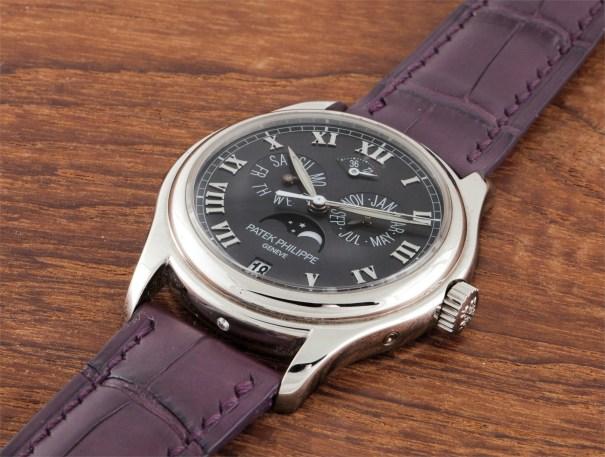A rare platinum annual calendar wristwatch with centre seconds and power reserve