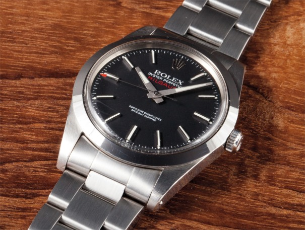 A rare and attractive stainless steel anti-magnetic centre seconds wristwatch with black dial