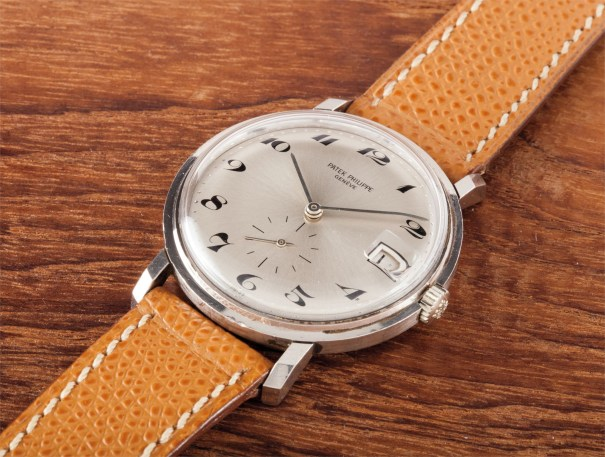 A rare and attractive white gold wristwatch with date and Breguet numerals