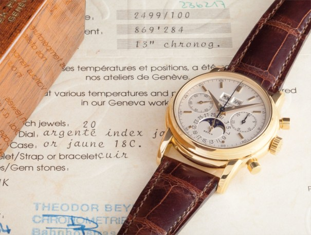 A very fine and rare yellow gold perpetual calendar chronograph wristwatch, retailed by Beyer, with original certificate and box