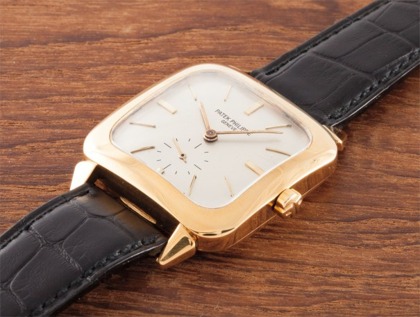 A rare gold square wristwatch