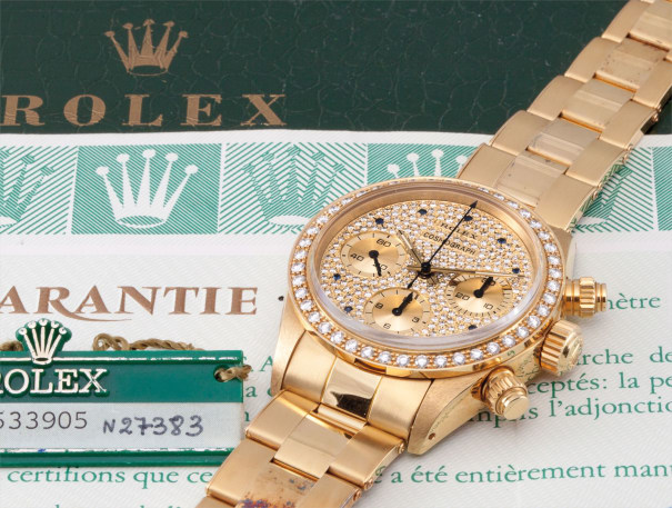 "A very rare and exceptional yellow gold and diamond chronograph wristwatch ""The Jack of Diamonds"" with bracelet, briefcase presentation box and guarantee"