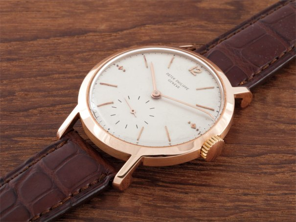 A very rare and large pink gold wristwatch
