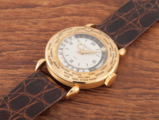 A very rare and early yellow gold world-time wristwatch, formerly the property of Robert Stack