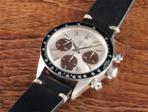 """A fine and rare stainless steel chronograph wristwatch with """"tropical"""" registers"""