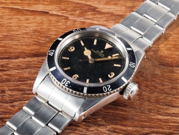 A very fine and very rare stainless steel wristwatch with bracelet, small logo and Explorer dial