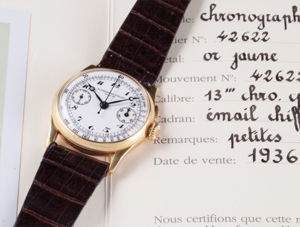 A very rare and elegant yellow gold single button chronograph wristwatch with enamel dial and 30 minute register