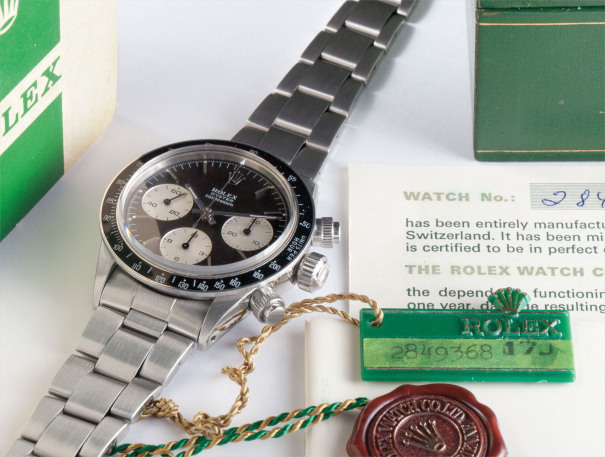 """A very fine are rare stainless steel chronograph wristwatch with bracelet, """"Tropical"""" dial, guarantee, box and swing tags"""