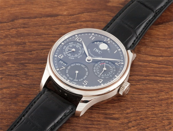 A large white gold perpetual calendar wristwatch with 7 day power reserve and moon phases