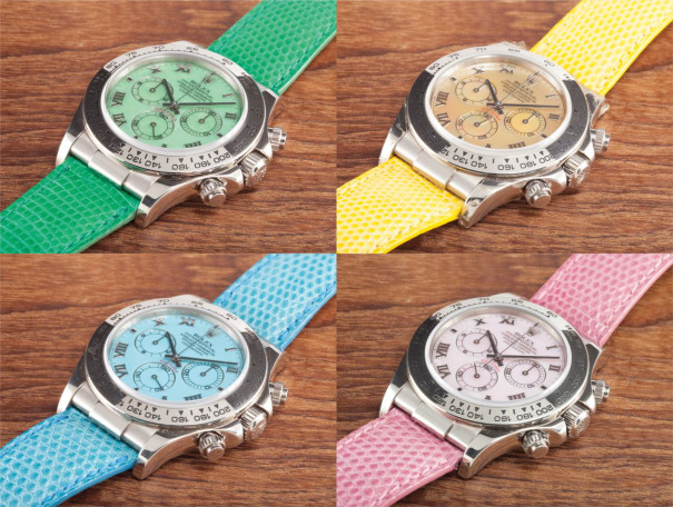 A set of four rare white gold chronograph wristwatches with either mother of pearl or hard stone dials