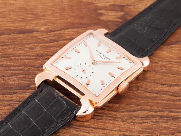 A rare pink gold square wristwatch with unusual lugs