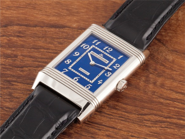 A rare limited edition white gold reverso wristwatch with blue enamel dial