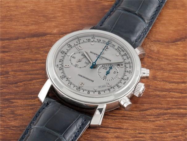 A rare and oversized platinum chronograph wristwatch, No. 1