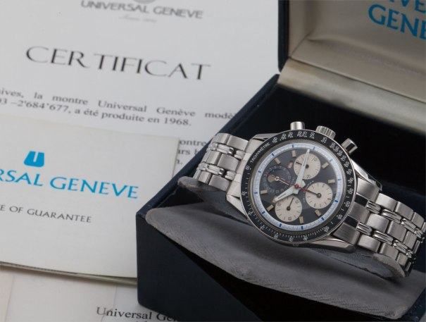 A fine and rare stainless steel triple calendar chronograph wristwatch with moonphases, bracelet, certificate and box
