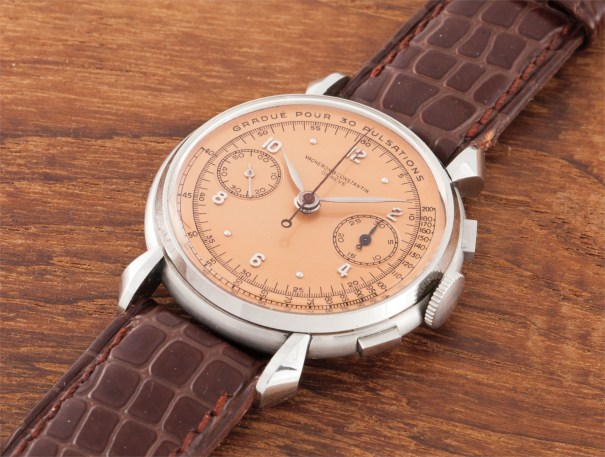 A very fine, rare and attractive stainless steel chronograph wristwatch with salmon-coloured pulsation dial