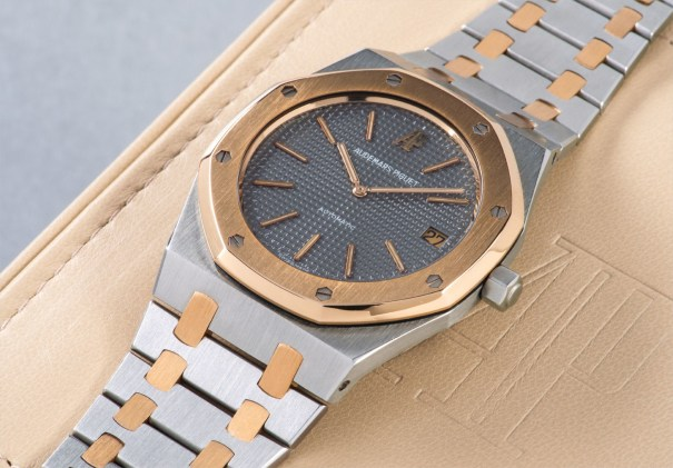 A highly attractive and beautifully preserved stainless steel and yellow gold wristwatch with date and bracelet