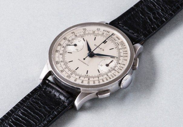 A fine and rare stainless steel chronograph wristwatch