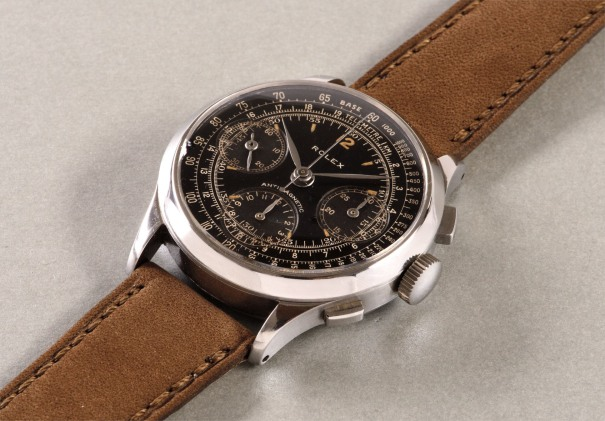 A very rare, attractive and large stainless steel antimagnetic chronograph wristwatch with black dial, tachymeter and telemeter scales and original presentation box