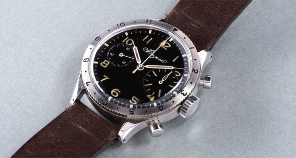 An extremely attractive and large stainless steel fly-back chronograph wristwatch with oversized register at three o'clock position