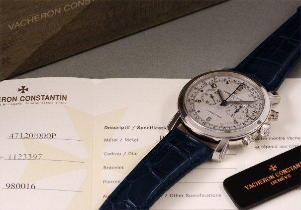 A very attractive, rare and large platinum chronograph wristwatch with sand-blasted platinum finished dial and outer telemeter scale, accompanied by certificate of origin, presentation box and booklets