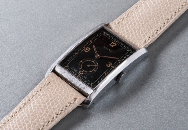 An extremely rare oversized stainless steel rectangular-shaped wristwatch with black dial