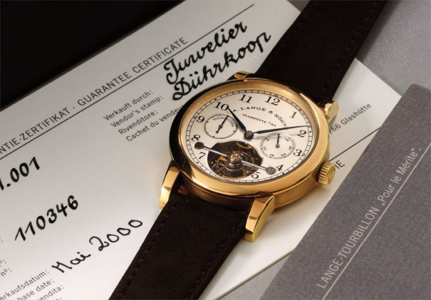 A very fine and limited edition yellow gold tourbillon wristwatch with fusée chain and power reserve